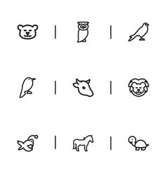 Set 9 editable animal icons includes symbols vector