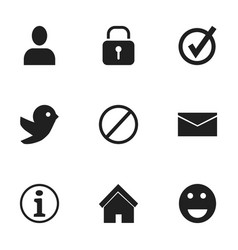 set of 9 editable network icons includes symbols vector image vector image