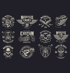 Set of custom motorcycle emblems vector