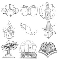 set of icons on a mexican theme outline picture vector image