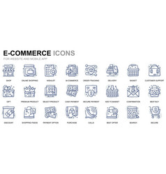 simple set e-commerce line icons for website vector image