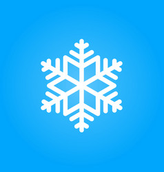 simple white snowflake isolated on blue background vector image