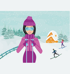 skiing in winter day vector image