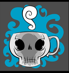 Skull coffee mug vector