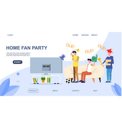 soccer funs watching match on tv vector image
