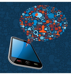 Social media bubble smart phone vector