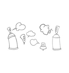 Spray cans and caps in doodle style graffiti vector