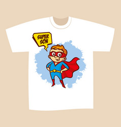 T-shirt print design superhero son vector