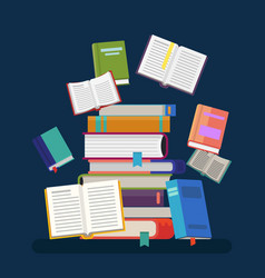 Textbooks with tassel and stacked books vector