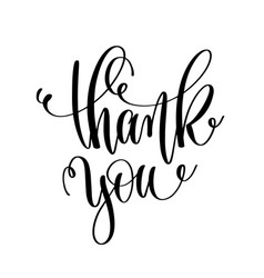 thank you - black and white hand lettering vector image