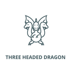 three headed dragon line icon linear vector image