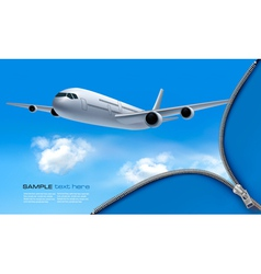 Travel background with airplane and white clouds vector image