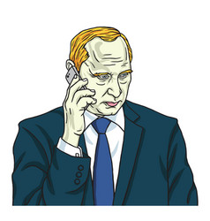 Vladimir putin on phone portrait cartoon vector