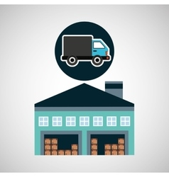 Warehouse building delivery van service vector