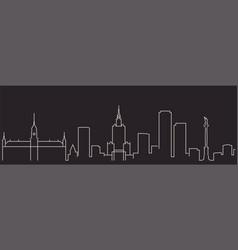 warsaw single line simple minimalist skyline vector image