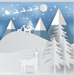 winter holiday snow and mountain background with vector image