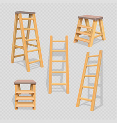 wood household steps set on transparent background vector image