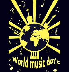 world music day concept background flat style vector image