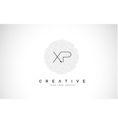 Xp x p logo design with black and white creative vector