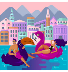 Young guy and girl are resting in an swimming vector