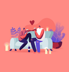 young loving couple spend time at home sitting on vector image
