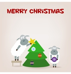 Cartoon funny sheep dresses up a fir-tree vector image vector image