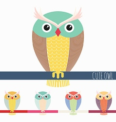 Cute colorful owl vector image vector image