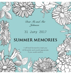 frame made of hand drawn flowers gerbera vector image vector image