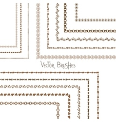 Hand drawn decorative borders and brushes vector image