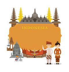 indonesia landmarks frame vector image