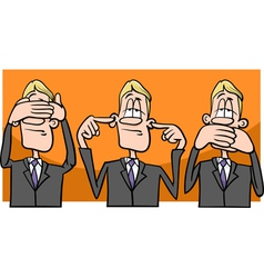 see hear speak no evil cartoon vector image vector image