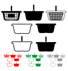basket for shopping black red green grey color vector image