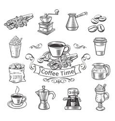 Decorative coffee icons set vector image