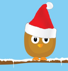 funny bird with christmas hat art vector image vector image