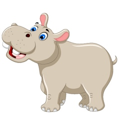 funny hippo cartoon smiling vector image vector image