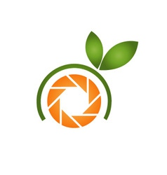 Photography logo with orange aperture and leaves vector image vector image