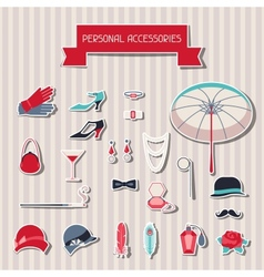 Retro personal accessories stickers of 1920s style vector image vector image