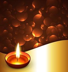 Shiny diwali diya background vector image vector image