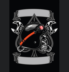 Skull of biker with spade and crossed wrench vector