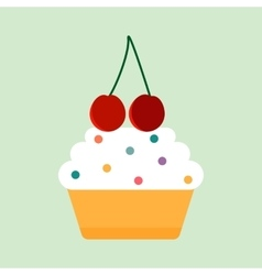 Teal birthday cupcake with butter cream vector image