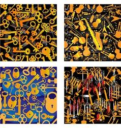 4 Seamless Patterns - Music Keys Locks Candles vector image vector image