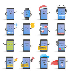 happy cartoon smart phone character set great for vector image vector image
