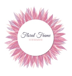 Pink floral round frame vector image vector image