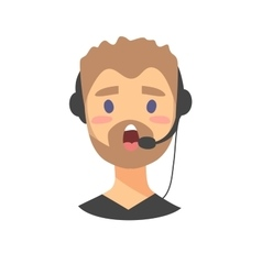 Portrait of speaking male customer support phone vector
