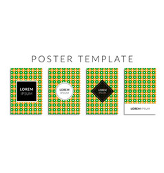 Poster set with green-orange color circle pattern vector