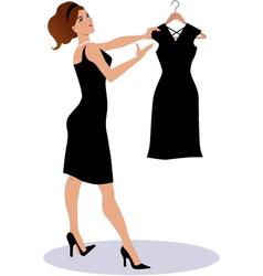 Saleswoman showing a little black dress vector image