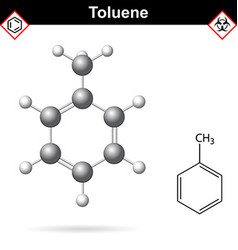 Toluene organic solvent chemical structure vector