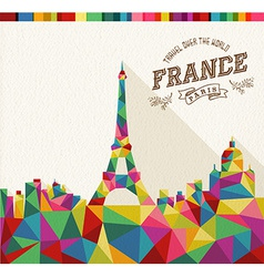 Travel France polygonal skyline vector image vector image