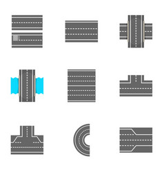 types of roads icons set cartoon style vector image vector image
