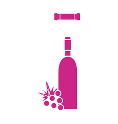 wine bottle with grape fruit and corkscrew vector image